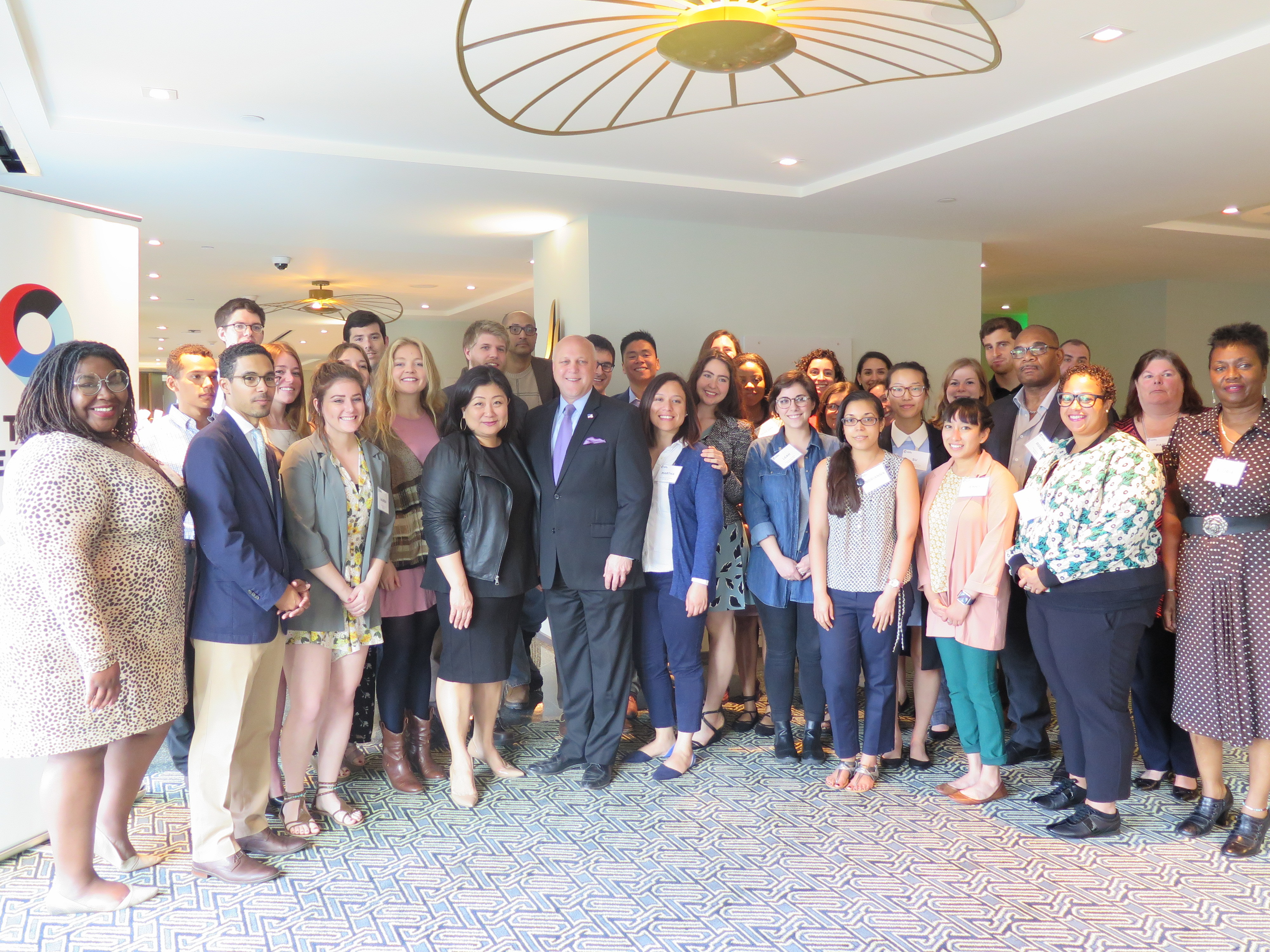 City of New Orleans Mayor Mitch Landrieu, Cities of Service Executive Director Myung J. Lee, and the Cities of Service AmeriCorps cohort of 2017.